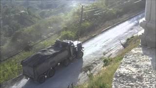 Peterbilt 357 Dump Truck Climbing Hill LOADED