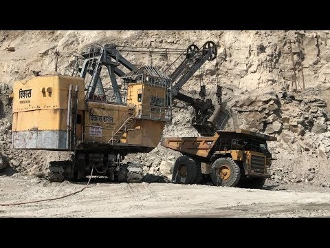 Coal Mine - Electric Shovel And Holpack On Work