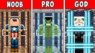 Minecraft NOOB vs PRO vs GOD: SUPERHERO ESCAPE FROM PRISON FOR 100 YEARS