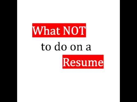Resume not to do