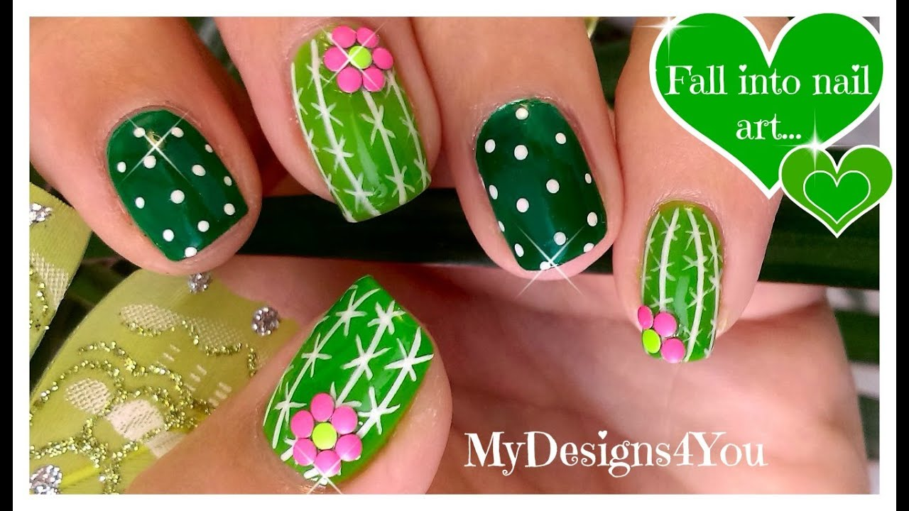 Fun Cactus Nail Art | Easy Summer Nails ♥ Diseño de Uñas Cactus ...