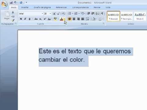 como cambiar el color del texto y del fondo de linea word - YouTube