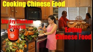 Filipina American Life In America   Cooking Stir Fry Chicken Broccoli Chinese Food + Eating Chinese