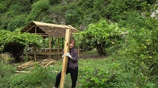 Beautiful Girl Next to Bamboo House - Making Floors for Bamboo House - New Life [Ep5]