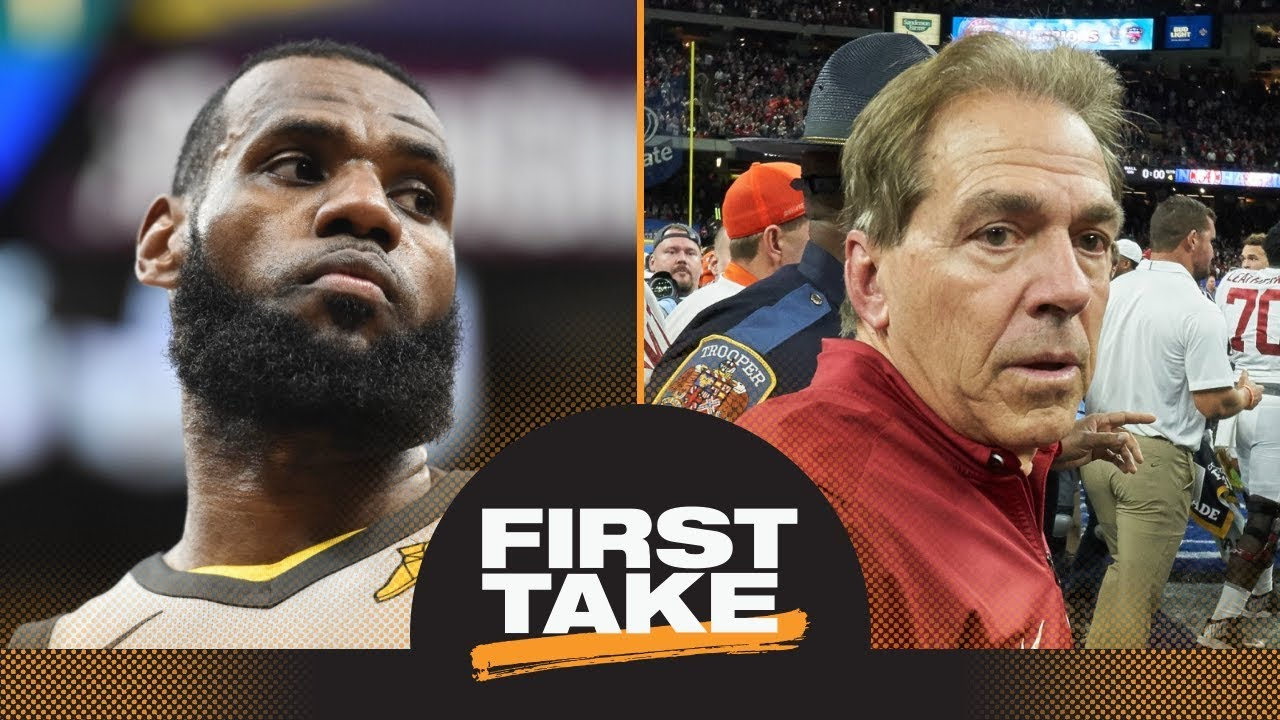 47da214b6d0d First Take reacts to LeBron James warning Nick Saban