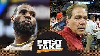 First Take reacts to LeBron James warning Nick Saban, Alabama over copyright | First Take | ESPN
