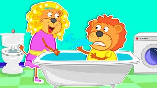 Lion Family in Bath | Fun play at the theme park | Cartoon for Kids