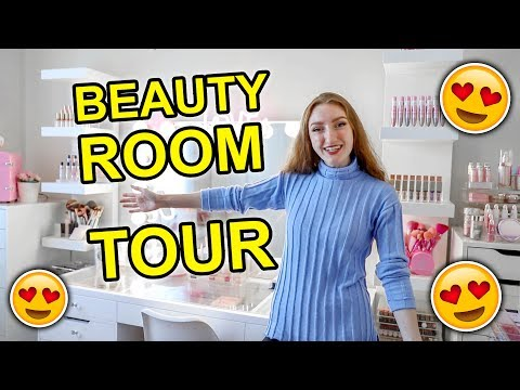 MY BEAUTY ROOM TOUR!!! MAKEUP COLLECTION + STORAGE 2019 thumbnail