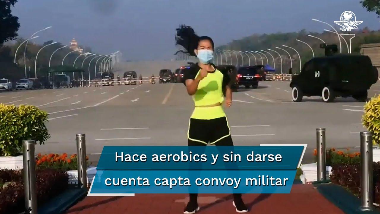 Se viraliza video de mujer haciendo ejercicio durante golpe de Estado en Birmania