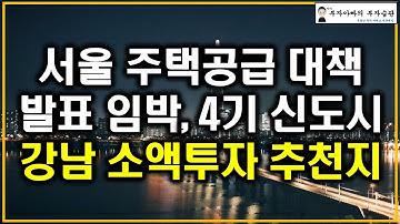 서울 주택공급 대책 발표 임박 4기 신도시 강남 소액투자 추천지