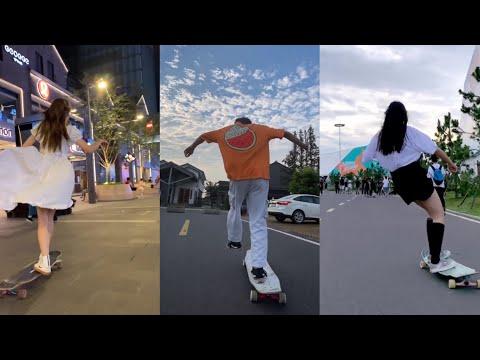 ลองบอร์ดและสเกตบอร์ด    TIKTOK fashion skate moment compilation🙂 หนุ่มๆสาวๆ 37