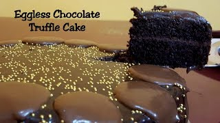 Eggless Chocolate Truffle Cake Recipe - No Butter, No Egg - Easy Homemade Eggless Cake recipe