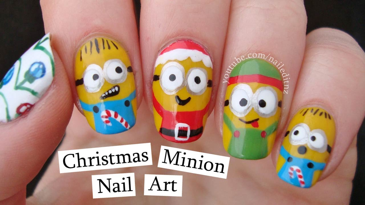 Christmas Minions | Nail Art Inspired by Despicable Me! - Christmas Minions Nail Art Inspired By Despicable Me! - YouTube