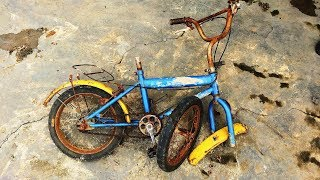 Restoration old kids bicycles dirty   Restore old rusty baby bike