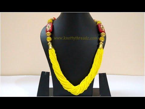 Making Of Designer Necklace Using Seed Beads | Meenakari Necklace Tutorial | www.knottythreadz.com