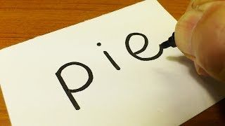 How to draw PIE(Pie in the Face Prank)using how to turn words into a cartoon - doodle art for kids