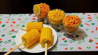اكواب الذرة الصفراء الساخنة ( عرانيس ) بنكهات مختلفة yellow corn