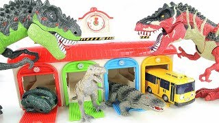 Learn Names of Dinosaurs With Tayo Garage~ T-Rex Spider Dino Transforming Eggs Fun Toys For Kids~