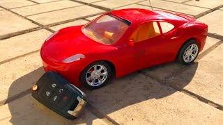 Mr. Joe on Car Toy Corvette found Car Keys & Red Man on Camaro in POOL for Kids