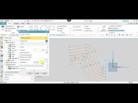 NX 12.0 Tutorial Tamil 13 : Offset Curve | Sketch | NX | Unigraphics