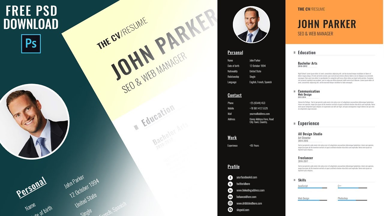 Modern Resume Cv Template Photoshop Download Free Psd
