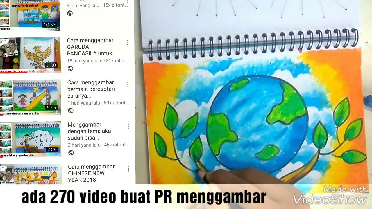 Mewarnai Poster Bumi Dengan Oil Pastel How To Colour Gradation