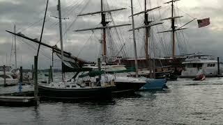 Tall Ship Crash - Oliver Hazard Perry: Tangled Dock Line,   tight marina