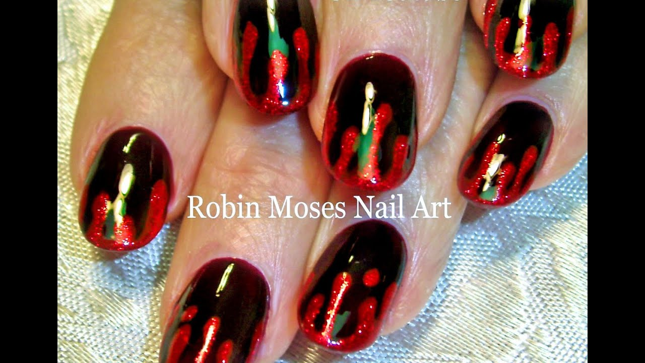 diy easy halloween nail art sexy blood splatter nails design tutorial
