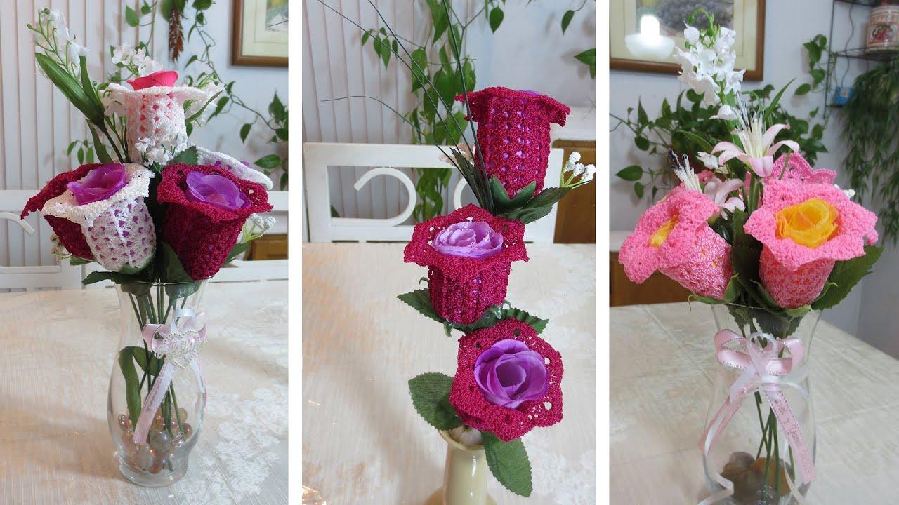 adorno de flores tejidas parte 1 youtube