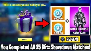 What happens when you COMPLETE all 25 Matches of 'BLITZ SHOWDOWN' in Fortnite! NEW ITEM REWARDS?!