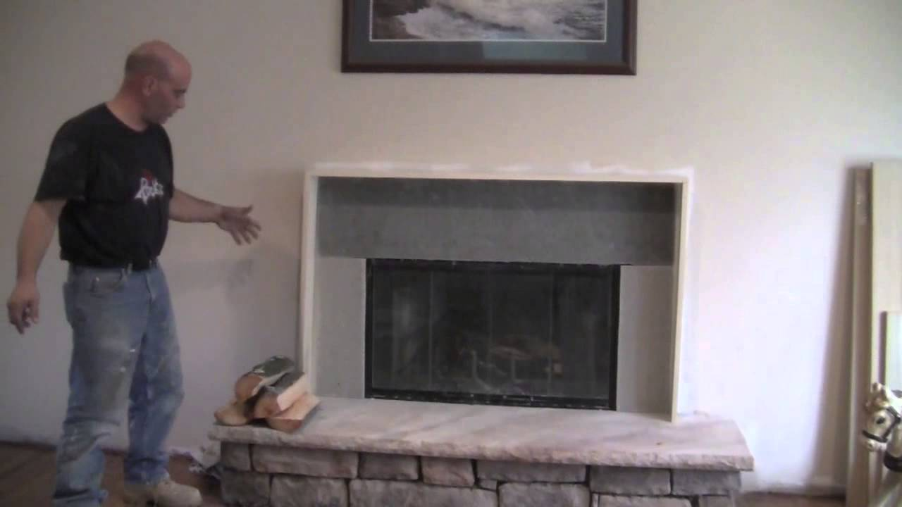 How to make a fireplace mantel and install cultured stone as a surround. It