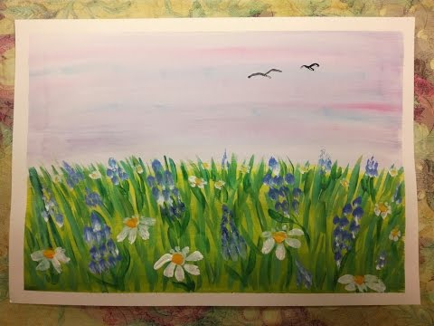 Как нарисовать летний цветущий луг.