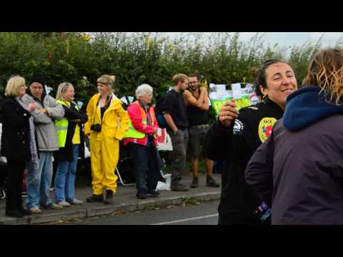 Anti fracking protest A583 Little Plumpton Lancashire