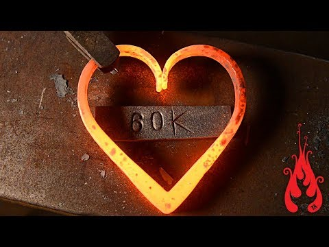 Blacksmithing - Forging a heart (60k sub video)