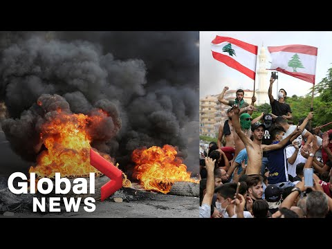 Lebanon protests: Demonstrators block roads, burn tires as thousands rally against government