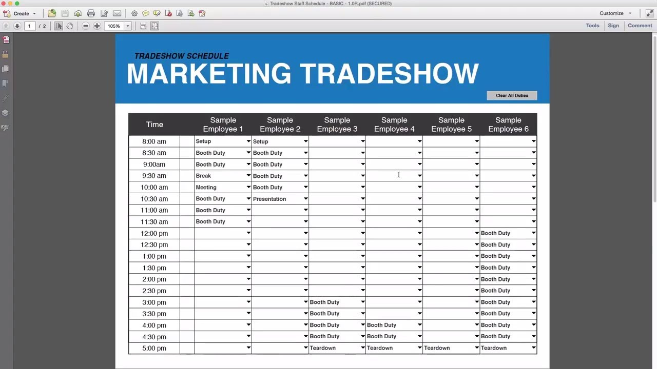 tradeshow staff schedule template free download youtube