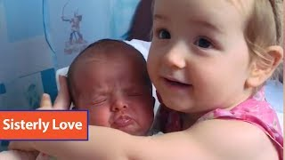 Toddler Holds Baby Sister For The First Time