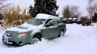 2009 Subaru Outback in deep snow