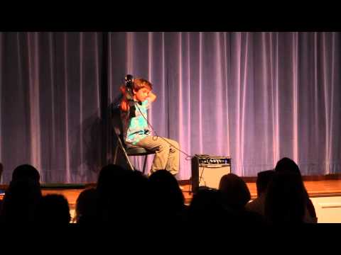 Santiago plays electric guitar at Montalvo Elementary School Talent Show