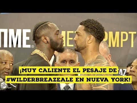 ¡Pesaje muy caliente entre Deontay Wilder y Dominic Breazeale! #WilderBreazeale