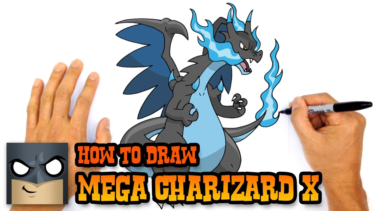 how to draw mega charizard x pokemon youtube