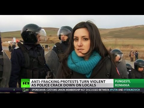 Anti-Shale Revolution: Clashes between police and fracking protesters in Romania