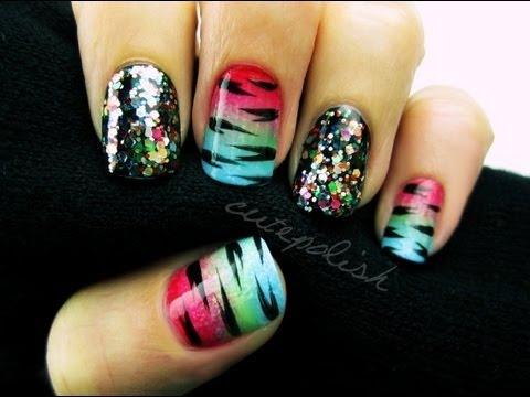 glitzy rainbow tiger nail art