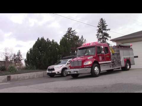Naramata Fire Rescue Engine 161, Engine 163, Tender 161 Responding with kids