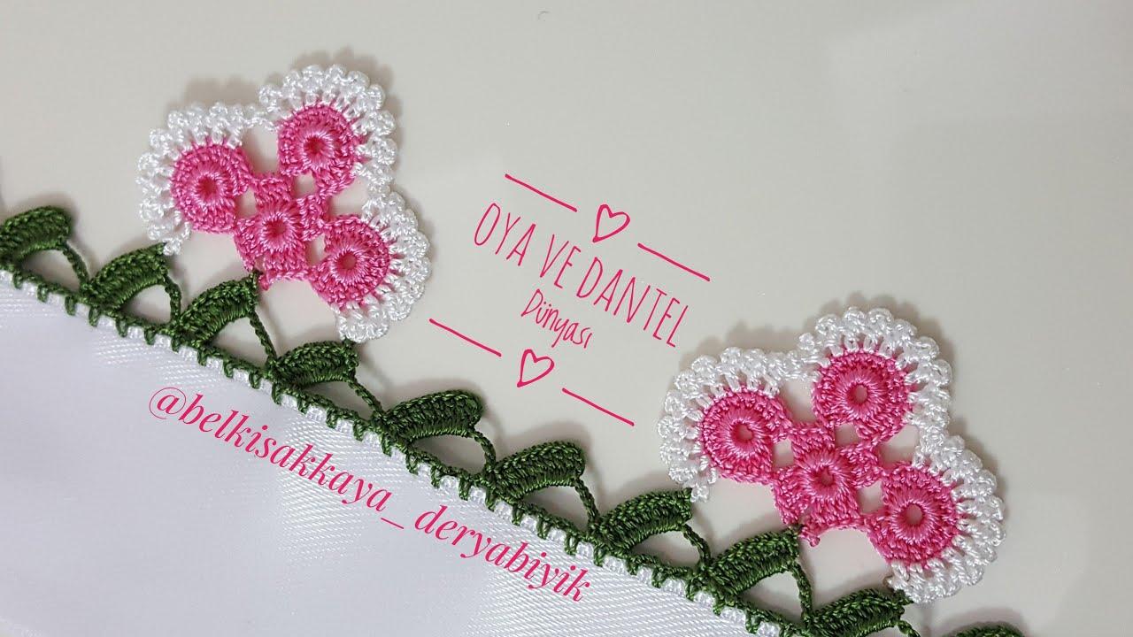 26❤️ Halkalı çiçekli havlu kenarı modeli🙏🌹#dantel#keşfet#handmade