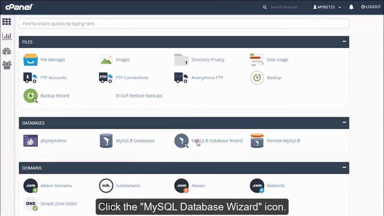 Как создать базу данных MySQL в cPanel?