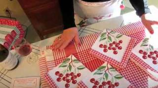 Gingham Vintage Cherries Tablecloth & Napkins Set - Retro Redheads