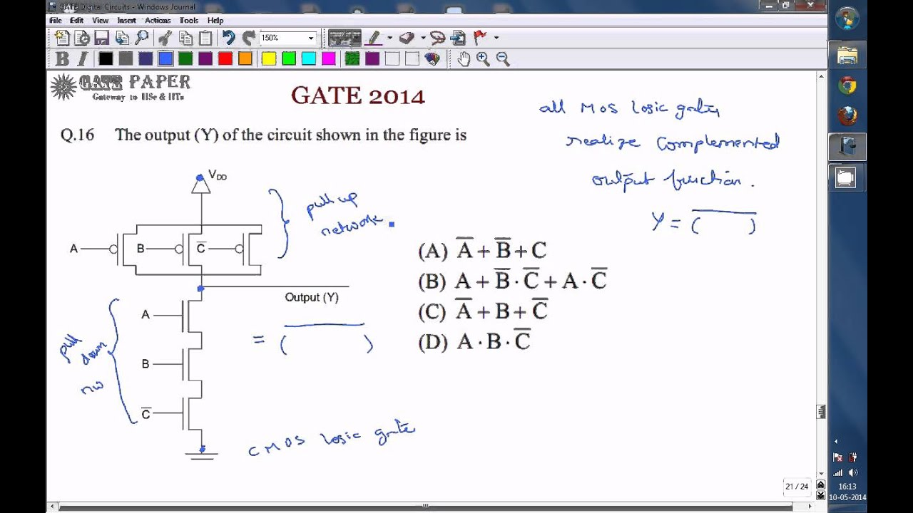 GATE 2014 ECE 3 input CMOS NAND gate - YouTube