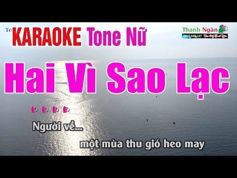 Hai Vì Sao Lạc Karaoke   Tone Nữ - Nhạc Sống Thanh Ngân