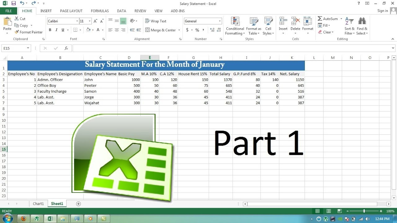 Making Salary Statement for a Month in MS Excel 2013 - Part 1 - YouTube